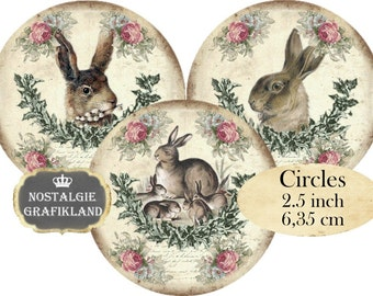 Rabbits Bunnies Easter Shabby Chic Hare Lapin Lievre Circles 2.5 inch Instant Download digital collage sheet C178
