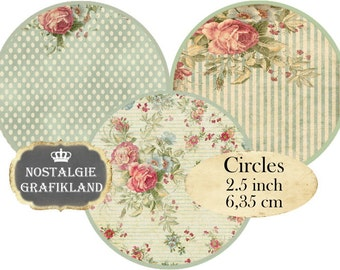 Circle 2.5 inch Shabby Background Instant Download digital collage sheet C147 Circles polka dots stripes