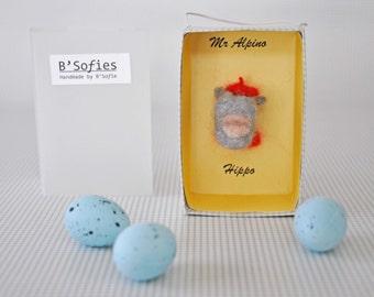 Miniature paper box with happy Hippo head-needle felting Magic circus box: Mr. Alpino Hippo-Ready to ship