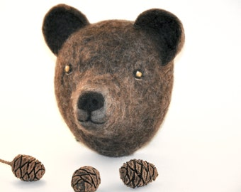 Needlefelted Bear-Animal Nursery decor-natural colors-taxidermy-