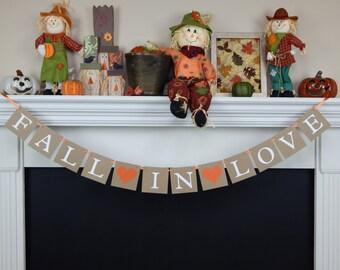 Fall in love banner, falling in love, fall wedding banner, fall wedding sign, Bridal Shower Banner, bachelorette banner, autumn wedding