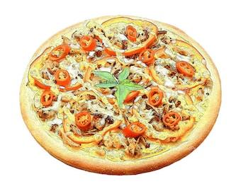 Food illustration, retro digital image, food art, kitchen art, vintage inspired, Italian pizza illustration, instant download, printable art