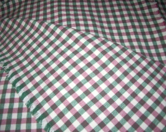 "Ginham upholstery fabric  5 Yards  54"" wide, Heavy Cotton Checked Green, Redish Pink, Beige"