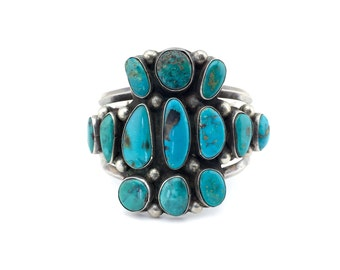 1950s Rare Old Pawn Sterling Silver and Turquoise Cuff