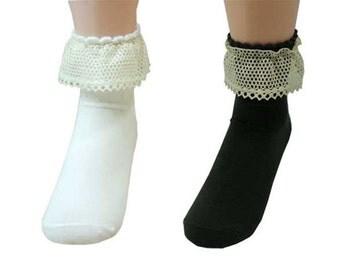 MIRINE Torsion Lace Cotton Socks_Black & White