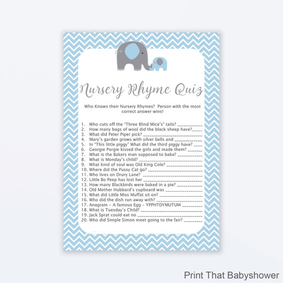 Baby Shower Games Nursery Rhyme Quiz Game Blue Elephant Baby. Baby ...