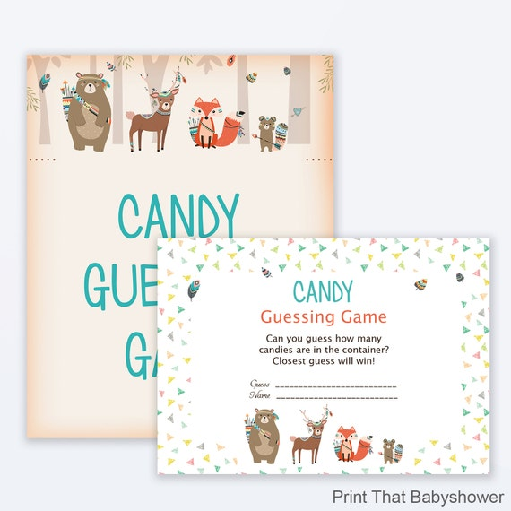 Candy Baby Shower Game: Baby Shower Games Candy Guessing Game Woodland Baby Shower