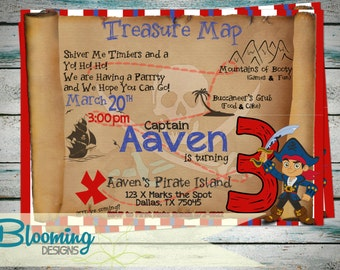 Captain Jake and the Neverland Pirates Birthday Party Invitation