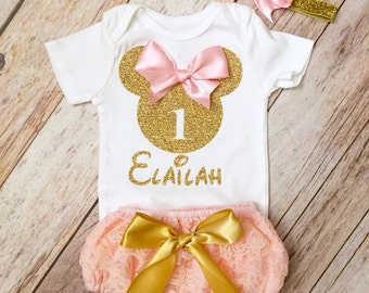 Adorable Minnie Mouse Personalized Birthday Outfit,  Pink and Gold  Baby Girl, First Birthday, Minnie Mouse Birthday