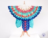 Children's Bird Cape, Bird of Paradise Costume, Parrot Kids Costume, Springtime Pastel Bird Wings, Bird Cape, Kids Costume