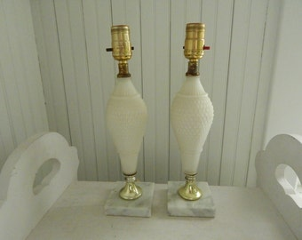 Quilted Ivory Satin Glass Boudoir Side Table Lamps With Marble Bases   Pair  Of Bedroom Dresser