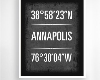 """Annapolis, Maryland, Geographic Coordinate Print,  8"""" x 10"""" or 11"""" x14"""""""