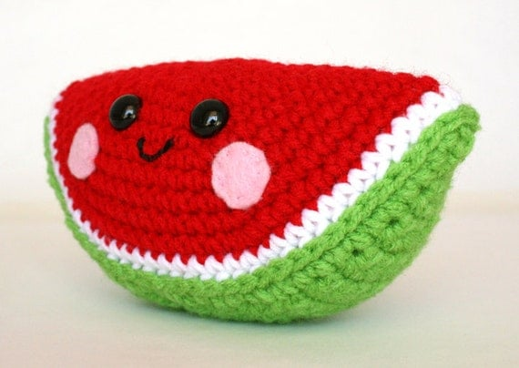 Amigurumi Watermelon : PATTERN: Watermelon Wedge Amigurumi Crochet Pattern - PDF ...