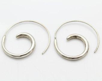 "Artisan Tribal Swirl Hoop Earrings STERLING SILVER 1.15"" 5.4g. [7127]"