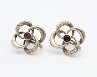 Vintage Uncas Screw-Back Knot Earrings with Rhinestones in Sterling Silver. [9655]