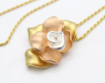 "Vintage Tri-Color Rose Pendant By Sigal in Gold Over Sterling Silver 18"" Chain. [10322]"