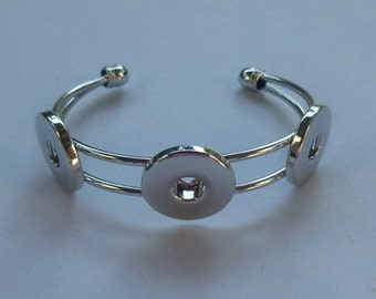 Silver Bangle for Three Snap-It/Ginger Charms