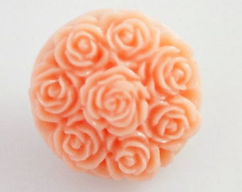 NEW! KB2297 3D Pale Pink Rose Nosegay Resin Snap