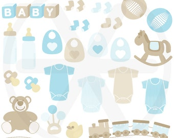 Baby boy clipart pack - Blue Baby toys images clip art: teddy, rocking horse, pacifiers, botlles, bodysuits... to use in scrapbook, cards...