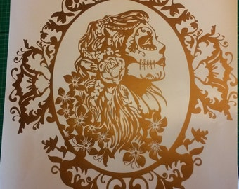 Steampunk Girl Decal / sticker / wall art / gears / cogs / clock / punk / car graphics / room decor / emo / gothic / metal /AA94