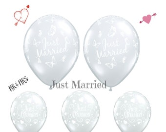Just Married balloons, Wedding Car balloons, Wedding Reception Balloons, Wedding Car Balloons