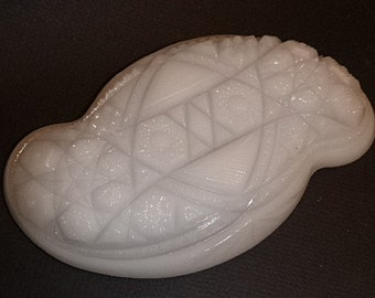 McKee Prescut milk glass Toltec Relish Dish Excellent condition beautiful for your spring table!