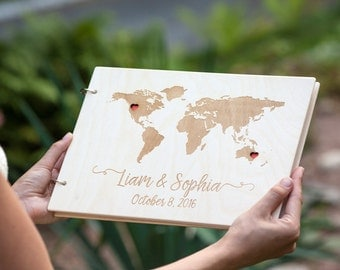 Wedding Guest Book, Guest Book, Wedding Guestbook, Rustic Guest Book, Custom Guest Book, Map Guest Book, Travel Guest Book, Guestbook, Map