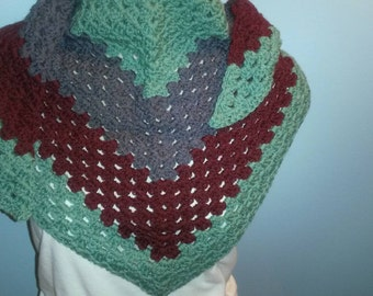 Crocheted Triangle Tri-colored Shawl