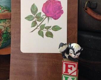 Vintage Flashcard, Vintage Rose, Flower, Gallery Wall, Rose