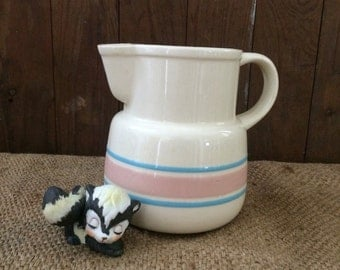 McCoy Pitcher, Striped Pitcher, Pink and Blue Stripe, Stoneware Pitcher