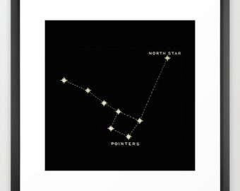North Star Print, Little Dipper Print, Square Wall Art, Square Print, Constellation Print, Stars, Black Wall Art, Constellation Wall Art
