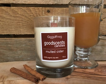 Soy Candle 10oz. Mulled Cider Eco-friendly with wood wick made from all natural products - renew - repurpose - reusable