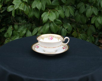 Vintage Copeland Spode Cup and Saucer - Pink Roses with Heavy Gold Trim