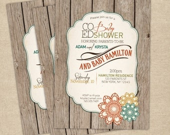 Baby shower invitation - Co-ed optional - Gender Neutral - Rustic Baby Shower Invitation - Fall Baby Shower Invitation