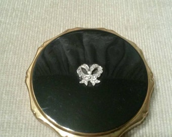 1950s vintage Kigu powder compact black with marasite bow