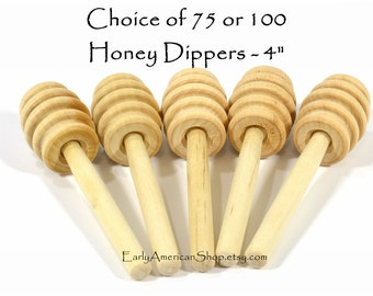 Your Choice of 75 or 100 Honey Dippers-Unfinished Hardwood-4 Inches Long-Honey Stick-Wedding Favors