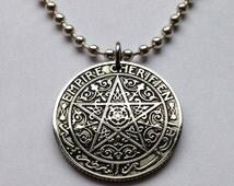 1921 Morocco 50 centimes coin pendant necklace ornate pentagram 5-pointed star Islamic Maroc Moroccan arabic script arab Islamic No.001402