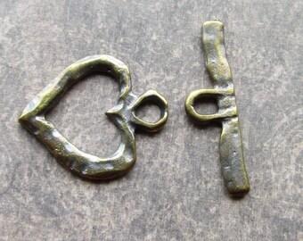 Antique Bronze Metal Casting Artisan Toggle Clasp 28/32mm Boho heart Textured