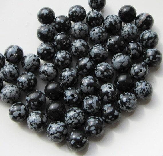 White Snowflake Obsidian : Snowflake obsidian gemstone round beads by
