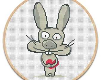 Instant download. Cross stitch pattern. Funny bunny with heart. PDF chart. Embroidery scheme