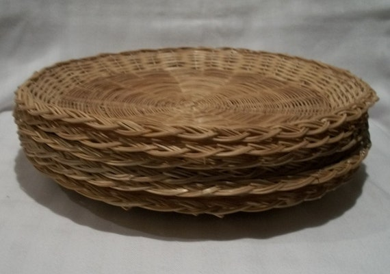 wicker paper plate holders lot of 6 vintage natural rattan. Black Bedroom Furniture Sets. Home Design Ideas