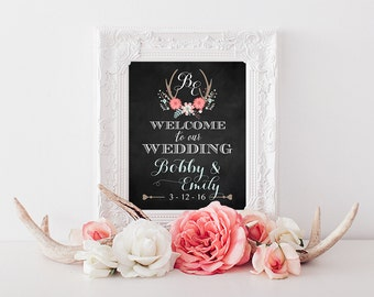 Printable Personalized Rustic Welcome to Our Wedding Sign | Wedding Chalkboard Sign | Rustic Welcome Sign | Personalized Wedding Sign