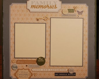 "12X12 premade ""Family Memories"" scrapbook page"