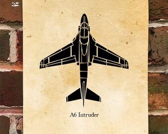 KillerBeeMoto: Grumman A-6 Intruder Aircraft Top View Limited Print