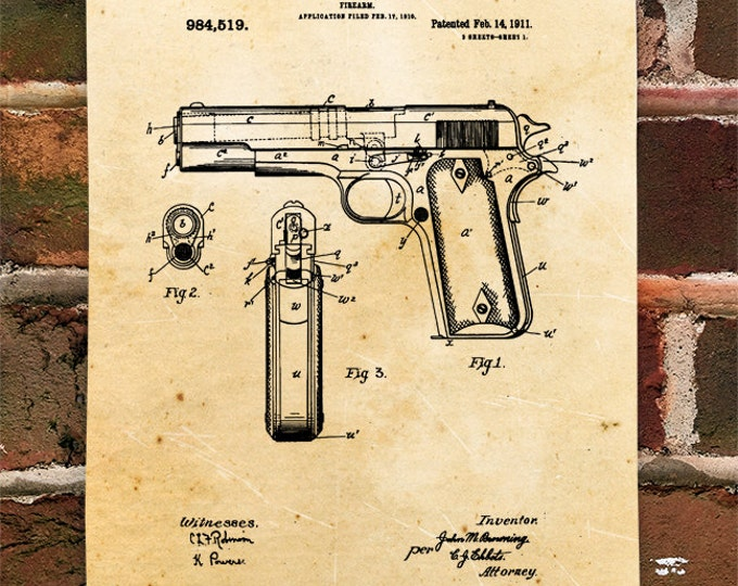 KillerBeeMoto: Duplicate of Original U.S. Patent Drawing For 1911 .45 Semi-Automatic Pistol