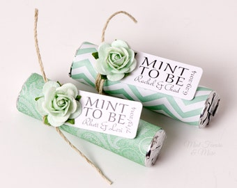 """Mint Wedding Favors with Personalized """"Mint to be"""" tag - Set of 24 favors - mint green wedding, mint to be, mint to be favors, mint chevron"""
