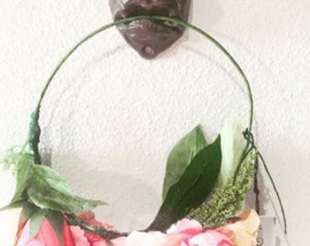 Peach and Pink Floral Crown
