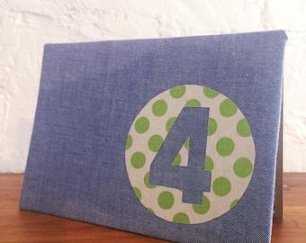 Handmade fabric greeting card - 4th birthday