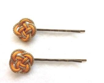 Japanese bobby pins, Set of 2,  hair pin, Japanese traditional Braid, yellow bobby pins, Free shipping