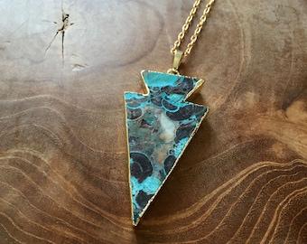 Ocean Jasper Arrow head- necklace with ocean jasper arrowhead pendant - semiprecious stone, gypsy, boho, bohemian, trend, mineral, aqua